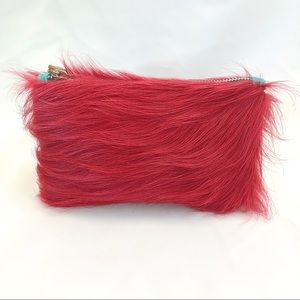 Hand crafted hot pink cow hair on hide wristlet